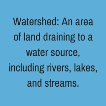 Watershed_ An area of land draining to a water source, including rivers, lakes, and streams. (4)